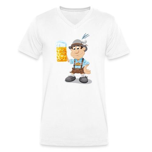 Herren T-Shirt Oktoberfest Lederhosen Bier - Männer Bio-T-Shirt mit V-Ausschnitt von Stanley & Stella