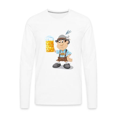 Herren T-Shirt Oktoberfest Lederhosen Bier - Männer Premium Langarmshirt