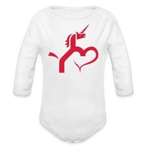 Einhorn mit Herz T-Shirts - Baby Bio-Langarm-Body