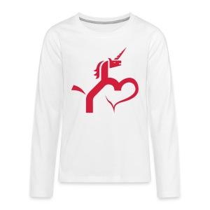 Einhorn mit Herz T-Shirts - Teenager Premium Langarmshirt
