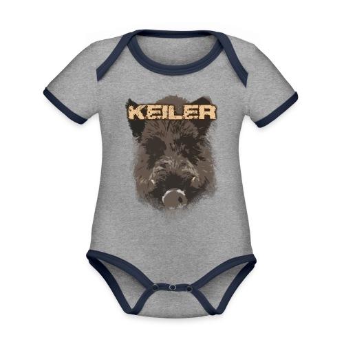 Jagdshirt - Keiler braun - Baby Bio-Kurzarm-Kontrastbody