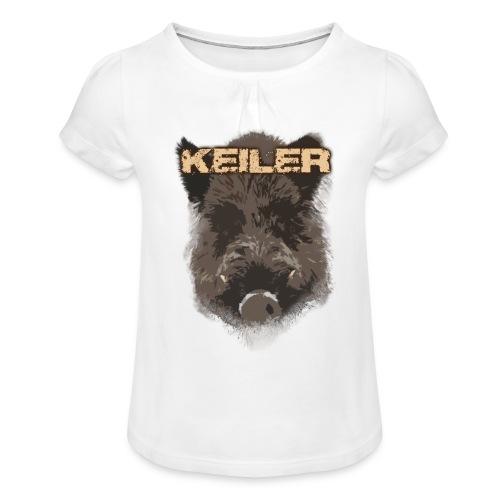 Jagdshirt - Keiler braun - Mädchen-T-Shirt mit Raffungen