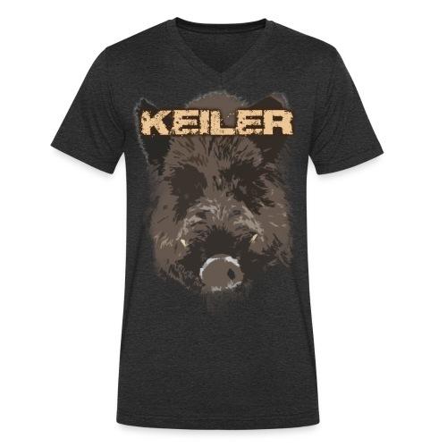 Jagdshirt - Keiler braun - Männer Bio-T-Shirt mit V-Ausschnitt von Stanley & Stella