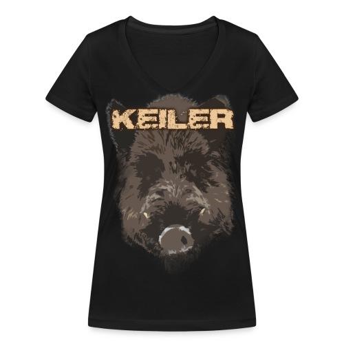 Jagdshirt - Keiler braun - Frauen Bio-T-Shirt mit V-Ausschnitt von Stanley & Stella