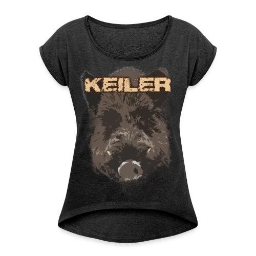 Jagdshirt - Keiler braun - Frauen T-Shirt mit gerollten Ärmeln