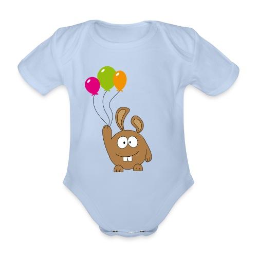 pummeliger Hase mit Ballons - Baby Bio-Kurzarm-Body
