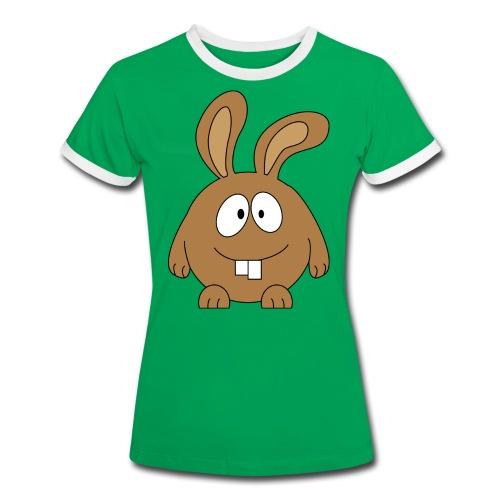 pummeliger Hase - Frauen Kontrast-T-Shirt
