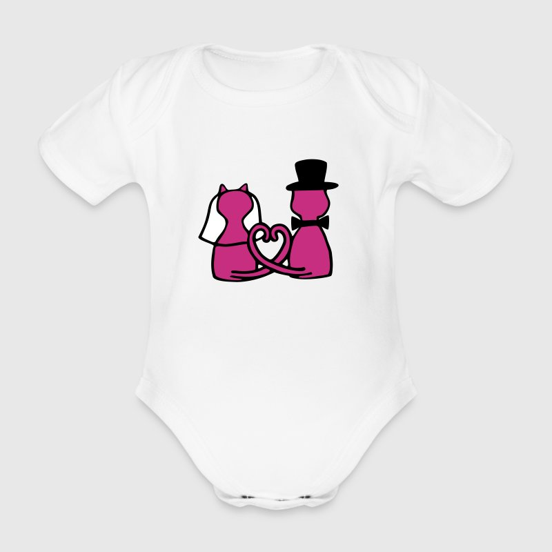 cat wedding Shirts - Organic Short-sleeved Baby Bodysuit
