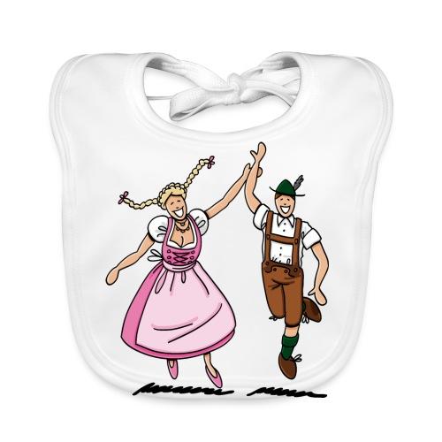 Bierkrug Oktoberfest Tanzpaar Lederhosen Dirndl - Baby Bio-Lätzchen