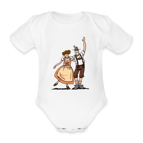 Bierkrug Oktoberfest Fröhliches Paar - Baby Bio-Kurzarm-Body