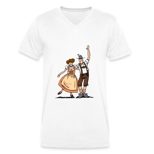 Bierkrug Oktoberfest Fröhliches Paar - Männer Bio-T-Shirt mit V-Ausschnitt von Stanley & Stella
