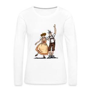 Bierkrug Oktoberfest Fröhliches Paar - Frauen Premium Langarmshirt