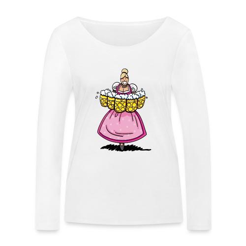 Damen T-Shirt Oktoberfest Bedienung Maßkrüge - Frauen Bio-Langarmshirt von Stanley & Stella