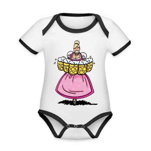 Damen T-Shirt Oktoberfest Bedienung Maßkrüge - Baby Bio-Kurzarm-Kontrastbody