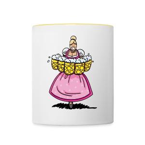 Damen T-Shirt Oktoberfest Bedienung Maßkrüge - Tasse zweifarbig