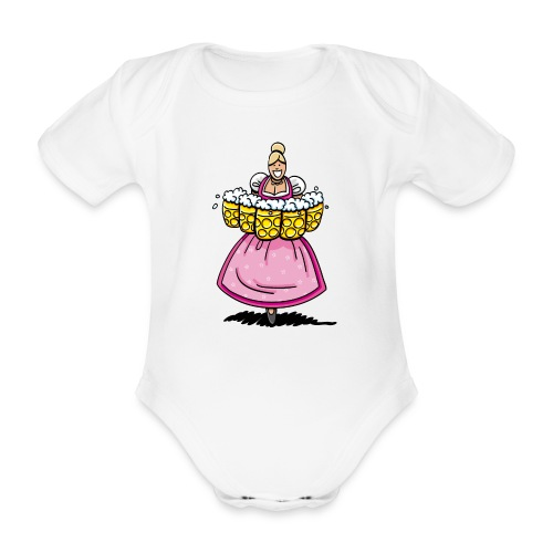 Damen T-Shirt Oktoberfest Bedienung Maßkrüge - Baby Bio-Kurzarm-Body