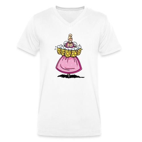 Damen T-Shirt Oktoberfest Bedienung Maßkrüge - Männer Bio-T-Shirt mit V-Ausschnitt von Stanley & Stella
