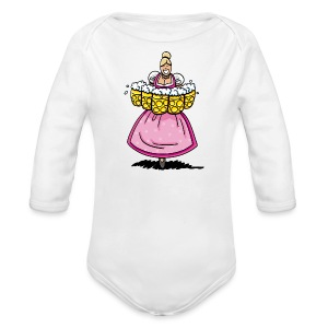 Damen T-Shirt Oktoberfest Bedienung Maßkrüge - Baby Bio-Langarm-Body