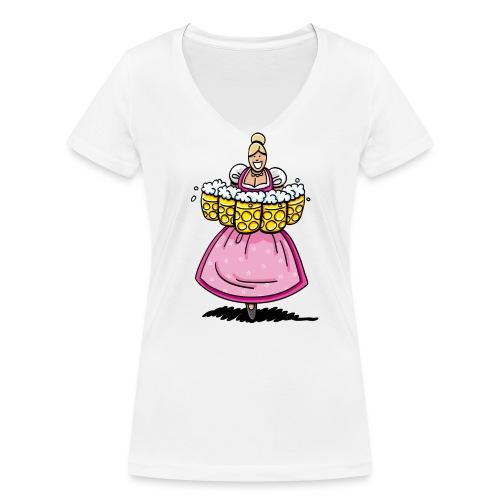 Damen T-Shirt Oktoberfest Bedienung Maßkrüge - Frauen Bio-T-Shirt mit V-Ausschnitt von Stanley & Stella