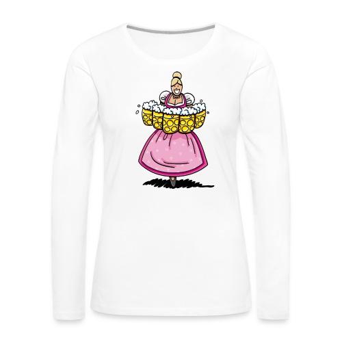 Damen T-Shirt Oktoberfest Bedienung Maßkrüge - Frauen Premium Langarmshirt