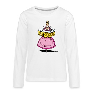 Damen T-Shirt Oktoberfest Bedienung Maßkrüge - Teenager Premium Langarmshirt