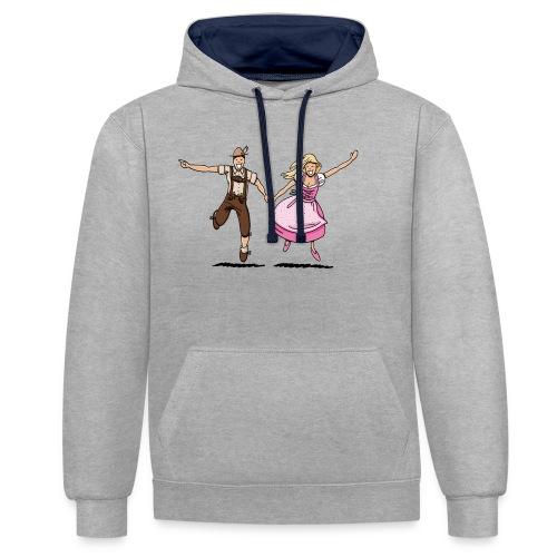 Damen T-Shirt Oktoberfest Glückliches Paar - Kontrast-Hoodie