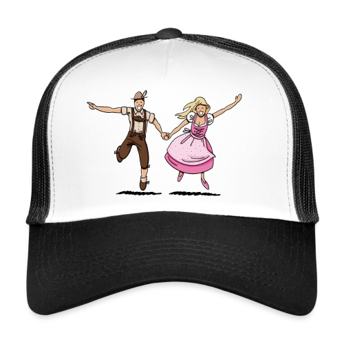 Damen T-Shirt Oktoberfest Glückliches Paar - Trucker Cap