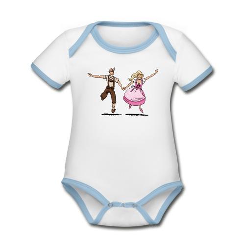 Damen T-Shirt Oktoberfest Glückliches Paar - Baby Bio-Kurzarm-Kontrastbody