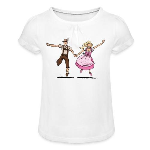 Damen T-Shirt Oktoberfest Glückliches Paar - Mädchen-T-Shirt mit Raffungen