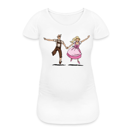 Damen T-Shirt Oktoberfest Glückliches Paar - Frauen Schwangerschafts-T-Shirt