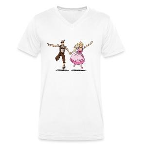 Damen T-Shirt Oktoberfest Glückliches Paar - Männer Bio-T-Shirt mit V-Ausschnitt von Stanley & Stella