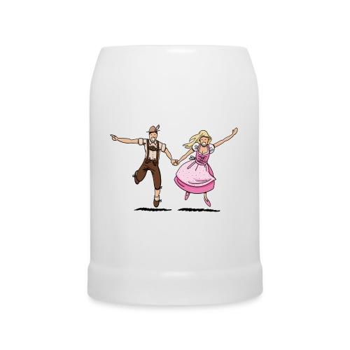 Damen T-Shirt Oktoberfest Glückliches Paar - Bierkrug