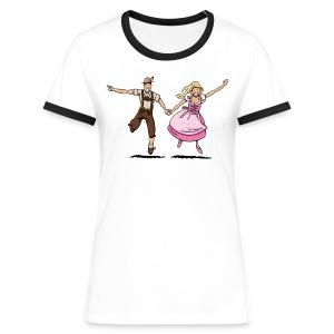 Damen T-Shirt Oktoberfest Glückliches Paar - Frauen Kontrast-T-Shirt
