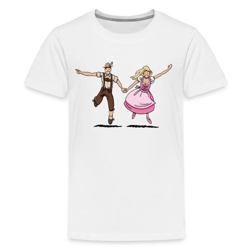Damen T-Shirt Oktoberfest Glückliches Paar - Teenager Premium T-Shirt