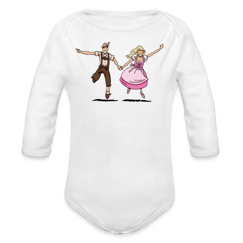 Damen T-Shirt Oktoberfest Glückliches Paar - Baby Bio-Langarm-Body