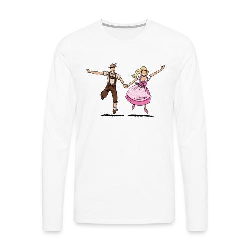 Damen T-Shirt Oktoberfest Glückliches Paar - Männer Premium Langarmshirt
