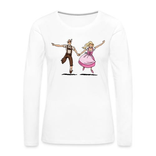 Damen T-Shirt Oktoberfest Glückliches Paar - Frauen Premium Langarmshirt