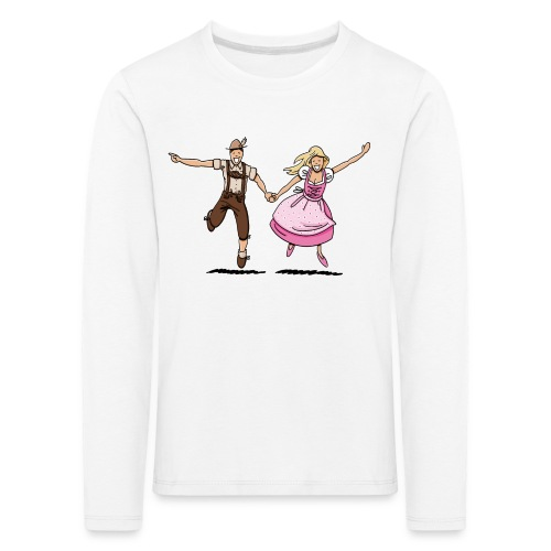 Damen T-Shirt Oktoberfest Glückliches Paar - Kinder Premium Langarmshirt