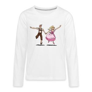 Damen T-Shirt Oktoberfest Glückliches Paar - Teenager Premium Langarmshirt