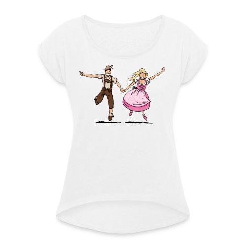 Damen T-Shirt Oktoberfest Glückliches Paar - Frauen T-Shirt mit gerollten Ärmeln