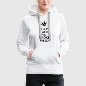keep calm and smoke weed Tee shirts - Sweat-shirt à capuche Premium pour femmes