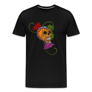 Skull Flowers orange - Männer Premium T-Shirt
