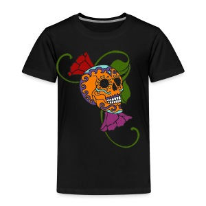 Skull Flowers orange - Kinder Premium T-Shirt