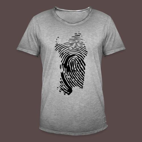 Sardegna, Impronta digitale (glitter) - Maglietta vintage da uomo