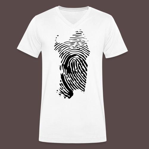 Sardegna, Impronta digitale (glitter) - T-shirt ecologica da uomo con scollo a V di Stanley & Stella