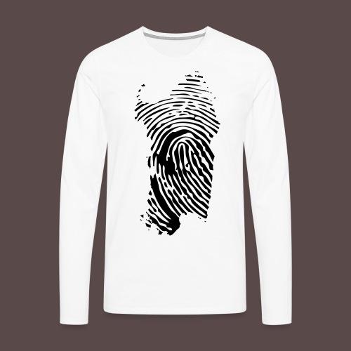 Sardegna, Impronta digitale (glitter) - Maglietta Premium a manica lunga da uomo