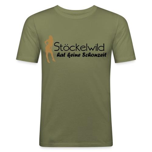 Stöckelwild braun/orange horizontal - Männer Slim Fit T-Shirt