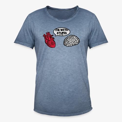 I'm with Stupid Herz zu Gehirn - Männer Vintage T-Shirt