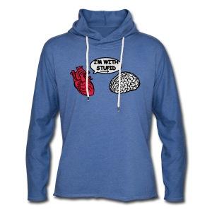I'm with Stupid Herz zu Gehirn - Leichtes Kapuzensweatshirt Unisex