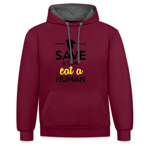 Menschen & Tiere - Save a Cow eat a Human - Kontrast-Hoodie